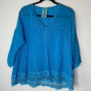 Johnny Was blue eyelet embroidered top M